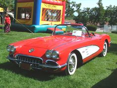 Cars 1959 Chevrolet Corvette Convertible Red Fvl Canterbury Village Car Show F