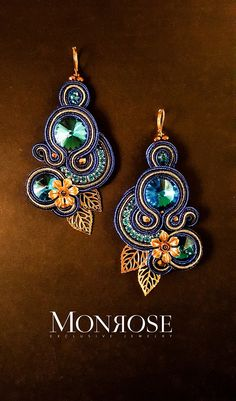 "Soutache earrings ""Pacific"" by Monrose Macrame Earrings Tutorial, Earring Tutorial, Crochet Earrings, Fabric Jewelry, Beaded Jewelry, Handmade Necklaces, Handmade Jewelry, Funky Earrings, Soutache Necklace"