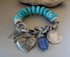 Edgy, Modern Blue Magnesite Bracelet with Rhinestones, a Rich Silver Metal Chain, and Charms pmdesigns on etsy.com