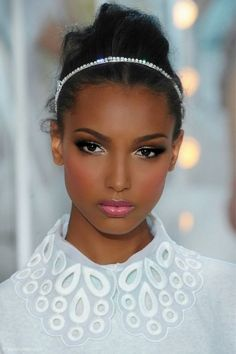 This is a great example of wedding makeup for darker skin tones. Description from http://pinterest.com. I searched for this on bing.com/images