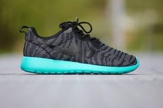 designer fashion 5ca78 9d05d New Nike Roshe One Knit Jacquard Black Aquamarine for Women Shoes igh  quality and safe payment
