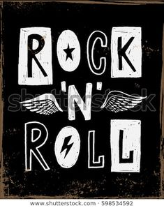 Rock and Roll sign. Slogan graphic for t shirt and other uses - compre este vetor na Shutterstock e encontre outras imagens. Punk Rock, Hard Rock, Festa Rock Roll, Rock And Roll Sign, Digital Foto, Rock Band Posters, Rock Festivals, Music Logo, Rockn Roll