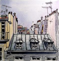 Toits de Paris travel sketch