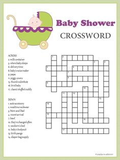 baby shower games baby shower parties printable crossword puzzles baby