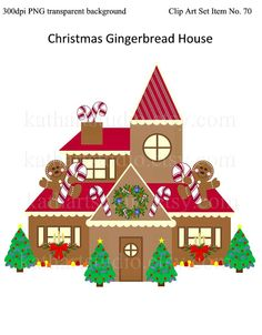 BUY 2 GET 1 FREE - Instant Download - Christmas Gingerbread House Clipart for Scrapbooking, Card Making, Personal and Commercial Use 70