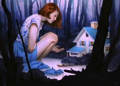 """Through a Lone, Winding Road"" // acrylic & colored pencil, 20x24 //  Tran Nguyen"