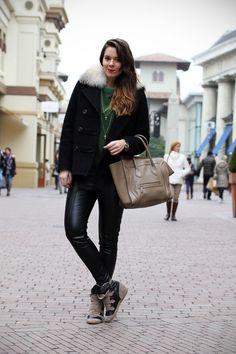 #celine #boston #leather #skinny #blogger #outfit #streetstyle #fashion #green #isabelmarant  #sneakers    VIA: www.ireneccloset.com