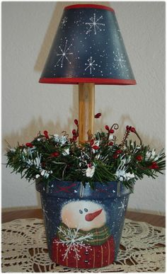 Snowman Rusty Tin Flower Pot Lamp by CarolAnnsTole on Etsy