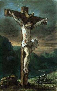 Christ on the Cross by Eugene Delacroix  www.crosswounds.com