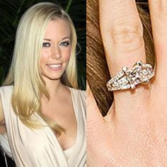 Kendra Wilkinson wears a princess cut engagement ring from Hank Baskett. Designed by New Jersey Jewelers Bernie Robbins, the center stone is accented by 60 diamonds and set in white gold.See photos of Kendra and Hank's wedding. Celebrity Wedding Rings, Cool Wedding Rings, Celebrity Jewelry, Wedding Rings For Women, Trendy Wedding, Wedding Tips, Celebrity Weddings, Summer Wedding, Dream Wedding