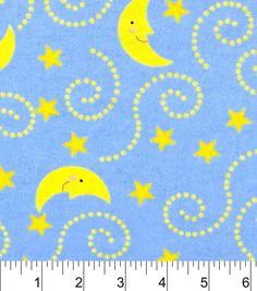 Nursery Flannel Fabric-Rhymes Blue Moon And Stars Blue