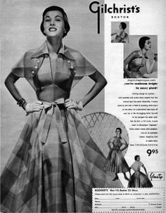 Gichrist's of Boston 1950 Versatile dress, over darkened brows Vintage Fashion 1950s, Fifties Fashion, Vintage Couture, Vintage Vogue, Vintage Glamour, Vintage Ads, Retro Fashion, Fifties Style, Vintage Style