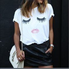 Adorable Eyelash White Tee This eyelash white tee is a staple item for any closet. Goes perfect with jeans or leggings or can be paired with a skirt and heels. I have sized S-XL available. Keep in mind this item could take up to 15 days to ship. Tops Tees - Short Sleeve