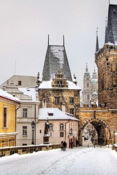 Wintertime in Prague. Who wouldnt want to go to Prague? Places Around The World, Oh The Places You'll Go, Places To Travel, Travel Destinations, Around The Worlds, Travel Stuff, Wonderful Places, Beautiful Places, Beautiful Buildings
