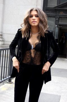 Zendaya, all black outfit, lingerie style, lace, suit