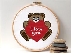 Love cross stitch pattern, new baby patterns. Wedding cross stitch pattern Counted cross stitch pattern. Teddy Bear with heart ILOVE YOU  by NiceStitchGifts, $4.50