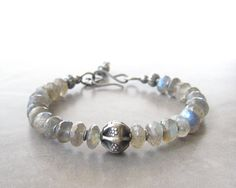 labradorite and silver bracelet gemstone and by theBeadAerie, $76.00