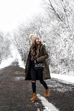 winter outfits canada 26 FEB, 2018 Where We Live - Outfit Details: Canada Goose Kensington Parka Alo Yoga Cutout-Sleeve Hoodie Asos Black Denim Timberland Boots Quay x Desi Perkins High Key Sunglasses Kyi Kyi Pom-Pom Hat Prada Cahier Bag Casual Winter Outfits, Winter Outfits For Teen Girls, Winter Fashion Outfits, Autumn Winter Fashion, Snow Outfits For Women, Winter Snow Outfits, Cold Weather Outfits, Women's Fashion, Sporty Fashion