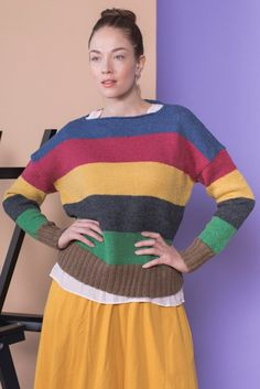 This light sweater is full of colour! Knitted in simple stockinette stitch, the colours really pop and stand out. The wide stripes give this garment a relaxed and calm look despite the many colours. Knitted with Novita Nalle wool yarn. Womens Knit Sweater, Lace Sweater, Wide Stripes, Sweater Knitting Patterns, Lace Patterns, Knit Fashion, Classic Looks, Swatch, Sweaters For Women