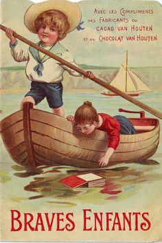 Van Houten`s cacao pieces) Vintage Labels, Vintage Ephemera, Vintage Cards, Retro Vintage, Vintage Advertising Posters, Old Advertisements, Vintage Artwork, Vintage Prints, Vintage Sailor