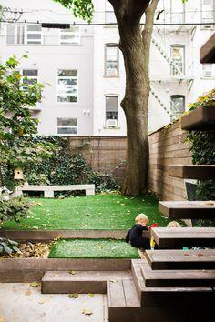 Brooklyn Brownstone Tour - turn a flower bed into a kid's sandbox