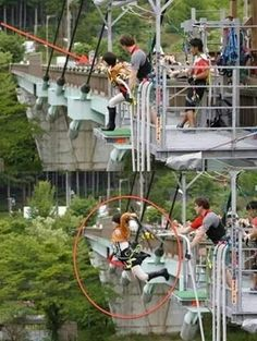 Bungee jumping is as close to 3DMG as you can get. Just that is cool enough. But bungee jumping in Attack on Titan cosplay? Even cooler.