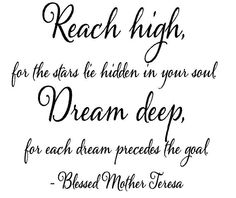 Mother Wall Quotes | Wall Quotes - Reach High Dream Deep Mother Theresa Quote Wall ...
