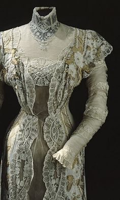 Closer Front view showing sharper detail ~ Dress of Queen Victoria of Sweden, 1911 From the Royal Armory and Hallwyl Museum