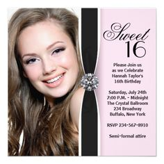 Pink Black Photo Sweet 16 Birthday Party Personalized Invitations 16th