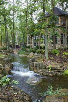 Waterfalls and streams run throughout the backyard...This is beautiful....: Ponds Backyard, Backyard Landscaping, Landscaping Ideas, Backyard Ideas, Backyard Waterfalls, Backyard Stream, Natural Landscaping, Garden Ponds, Garden Oasis