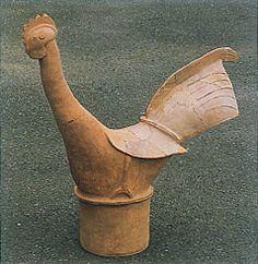 The Kofun period art,Haniwa terracotta clay figure.    chicken. Nara Japan.