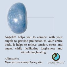 Angelite helps you to connect with your angels to provide protection to your entire body. It helps to relieve tension, stress and anger, while facilitating forgiveness and stimulating healing. #angelite #crystals #healing