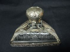 Antique German Engraved Glass Inkwell w Pen Tray Sterling Silver