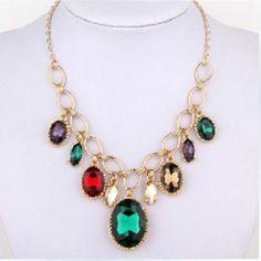 Multicolor Crystal Water Drop Pendant Choker Necklace