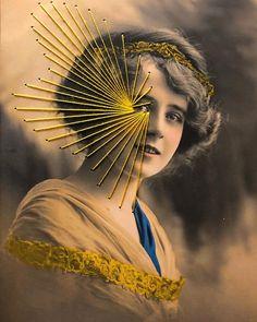 Portrait Embroidery, Embroidery Art, Photo D Art, Retro Art, Portraits, Les Oeuvres, Cool Stuff, Vintage Photos, Paper Art