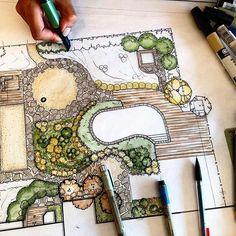 ideas landscape architecture rendering gardens for 2019 : ideas landscap. - ideas landscape architecture rendering gardens for 2019 : ideas landscap… - Croquis Architecture, Landscape Architecture Drawing, Landscape Sketch, Landscape Design Plans, Garden Design Plans, Landscape Drawings, Rendering Architecture, Landscape Architects, Landscaping Design