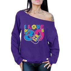 I Love D' 80s cassette graphic pre-shrunk sweatshirt for women. Retro Dress, Fancy Dress, Dress Up, Neon Jewelry, Love S, 80s Fashion, Leg Warmers, Graphic Sweatshirt, Purple