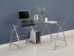 Silver-Framed Modern L-shaped Desk With Glass and a Keyboard Shelf