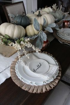 farmhouse fall decor. farmhouse tablescape. fall tablescape. white pumpkins. doughbowl decor. doughbowl centerpiece