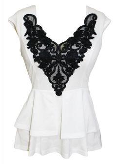 Lace Applique Peplum Top |Dress