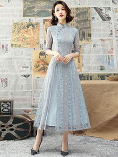 Blue Lace A-Line Tea-Length Qipao / Cheongsam Dress - CozyLadyWear Model Dress Batik, Batik Dress, Dress Brukat, Casual Dresses, Fashion Dresses, Batik Fashion, Cheongsam Dress, Looks Vintage, Ao Dai