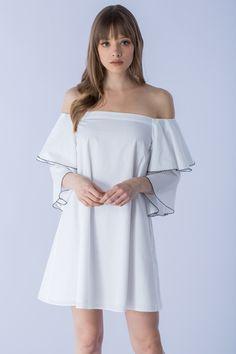 TRIPLE RUFFLE SLEEVE OFF SHOULDER DRESS