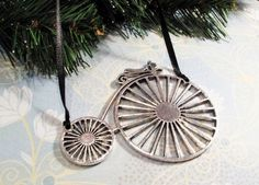 Penny Farthing Christmas Tree Ornament, steampunk bicycle silver