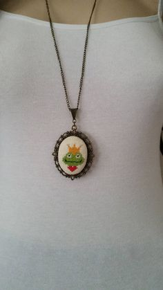Cross stitch necklace, Frog cross stitch necklace, necklace, pendant, jewelry, cross stitch necklace, embroidery necklace, Valentine's Day,