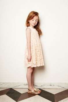 Perfect nude lace dress also in shocking pink and yellow at My Little Dress Up for spring 2015 kidswear