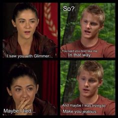 I've never been partial to clato/glato but now I think I'm on team clato. It makes sense that Cato would only use Glimmer in the beginning for sponsors/to make Clove jealous. I think they had a scene where he told her that in between the double-victor announcement and the Feast. :) So for this, I think he liked Glimmer as a friend, and loved Clove as more.