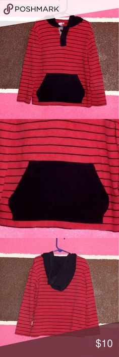 Boys hoodie shirt (5/6) Red and black striped shirt has a front pocket is in good used condition. crazy 8 Shirts & Tops Sweatshirts & Hoodies