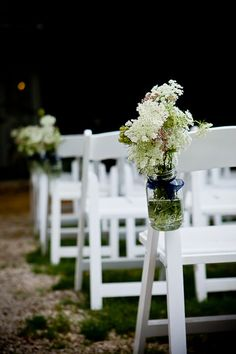 Great DIY decorations for lining a wedding aisle. Queen Annes Lace in Mason Jars attached to white chairs. Wedding Ceremony, Our Wedding, Dream Wedding, Spring Wedding, Aisle Flowers, Wedding Flowers, Vintage Wedding Theme, Rustic Wedding, Wedding Isle Decorations