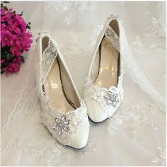 Ladies White Leather Wedge shoes. White Wedding Shoes White Wedge