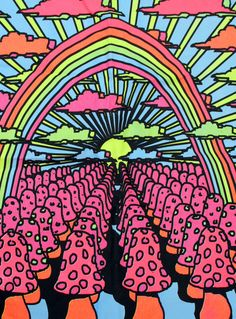 Vintage Neon Mushroom Psychedelic Trippy Black Light Hippie Fabric Wall Hanging